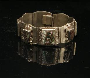TAXCO MEXICAN STERLING & ABALONE LINK BRACELET