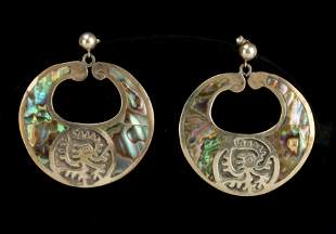 VINTAGE MEXICAN STERLING ABALONE BIRD EARRINGS