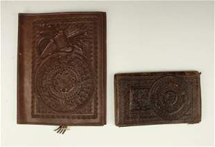 VINTAGE MEXICAN AZTEC LEATHER BOOK COVER WALLET