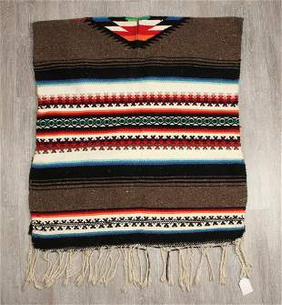 VINTAGE WOVEN MEXICAN PONCHO THROW