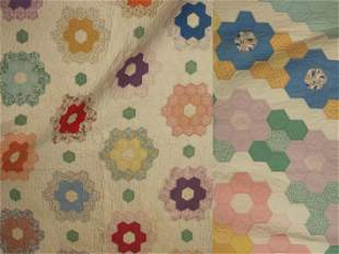 VINTAGE HAND SEWN COTTON PIECED QUILTS