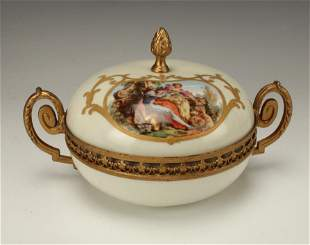 FRENCH LIDDED DISH WITH BRONZE MOUNTS COURTING