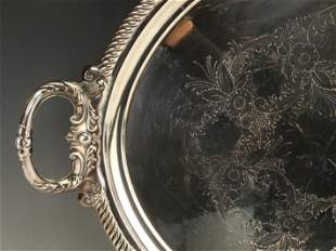 LARGE VICTORIAN ANTIQUE SILVERPLATE TRAY 1868