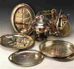 LARGE ASSEMBLED SILVERPLATE SERVING PIECES