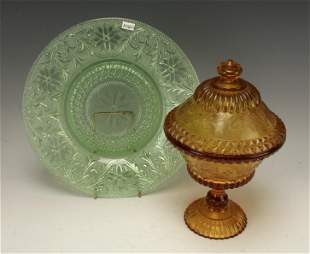 PRESSED GLASS PLATE & LIDDED CANDY DISH