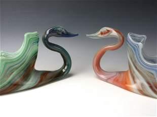 RARE MCM PAIR OF MURANO GLASS SWANS