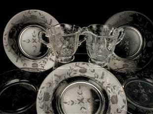11 GLASS PLATES SUGAR CREAMER