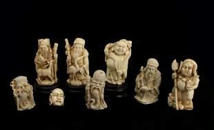 8 RESIN ASIAN SCULPTURE FIGURES