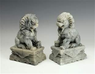 PAIR CHINESE CARVED MARBLE LION FOO BOOKENDS