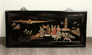 LACQUER SCENIC PANEL WITH APPLIED JADE