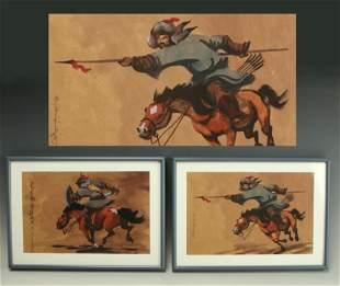 MONGOLIAN PAINTINGS OF WARRIORS ON HORSEBACK