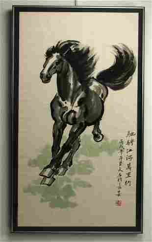 DRAMATIC CHINESE HORSE PAINTING FRAMED SCROLL