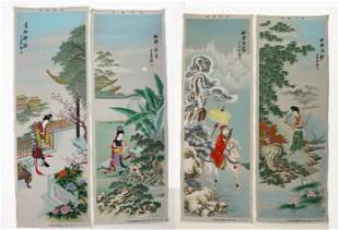 4 WOVEN CHINESE PANELS OF BEAUTIES