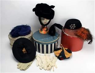 ANTIQUE COLLAPSIBLE TOP HAT, VINTAGE HATS & BOXES