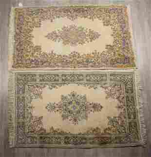 TWO VINTAGE WOOL IRANIAN AREA RUGS