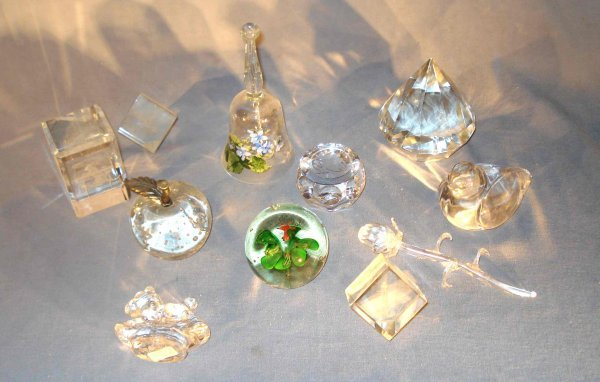12: Collection of glass paper weights, etc