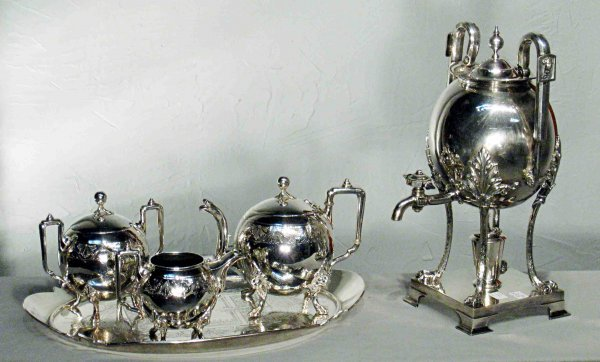 4: Silver engraved  tea set in the Eastlake style