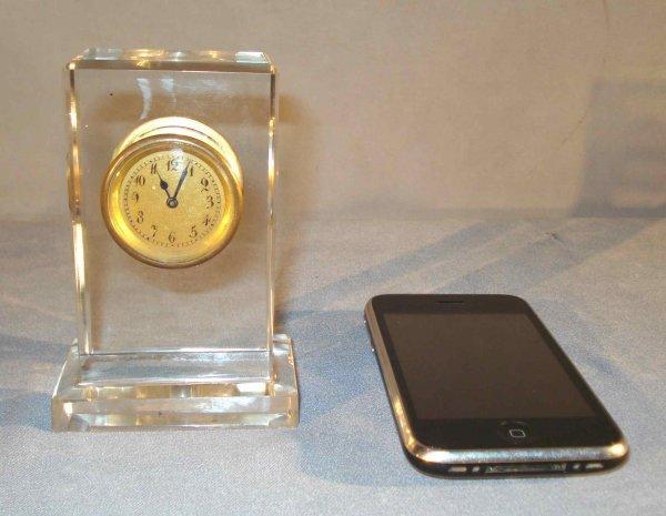 9: Glass or Rock Crystal Cased Desk Clock