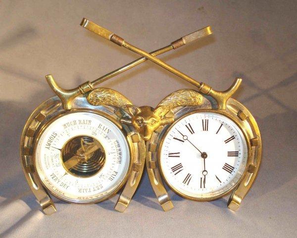 12A: Equestrian theme Clock/Barometer Desk Set