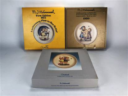 THREE HUMMEL BAS RELIEF COLLECTOR PLATES IN BOX