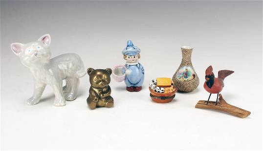 ASSORTED FIGURES, VASES, BOXES