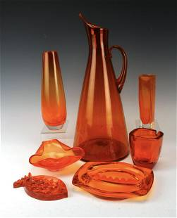 LOT OF MID CENTURY MCM ORANGE ART GLASS BLENKO