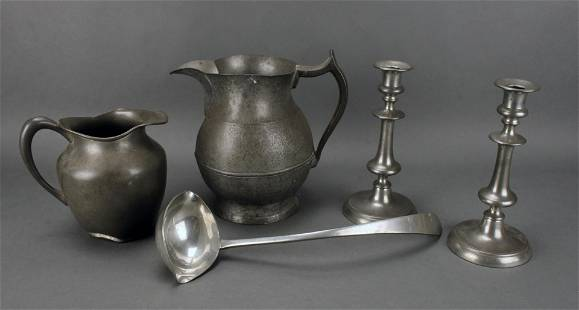 COLLECTION OF PEWTER SERVING & DECORATIVE ITEMS