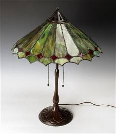RARE HANDEL BRONZE & STAINED GLASS TABLE LAMP