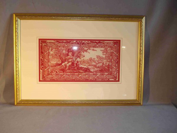 6: Red Printed Textile Item in Frame