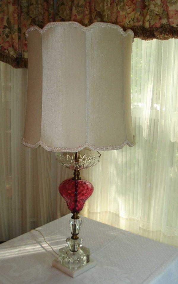 8: Cranberry glass Lamp