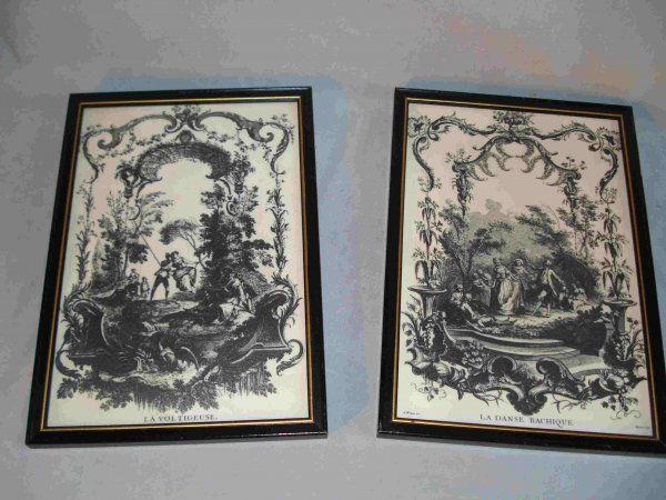 20: Pair of etched wall hangings