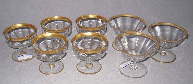 8: Eight gold rimmed dessert goblets