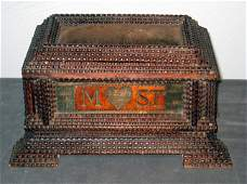 203 Tramp art of folk art sewing box