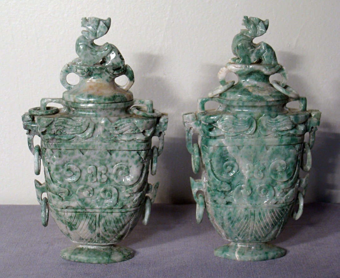 3: Pair Jade Vases