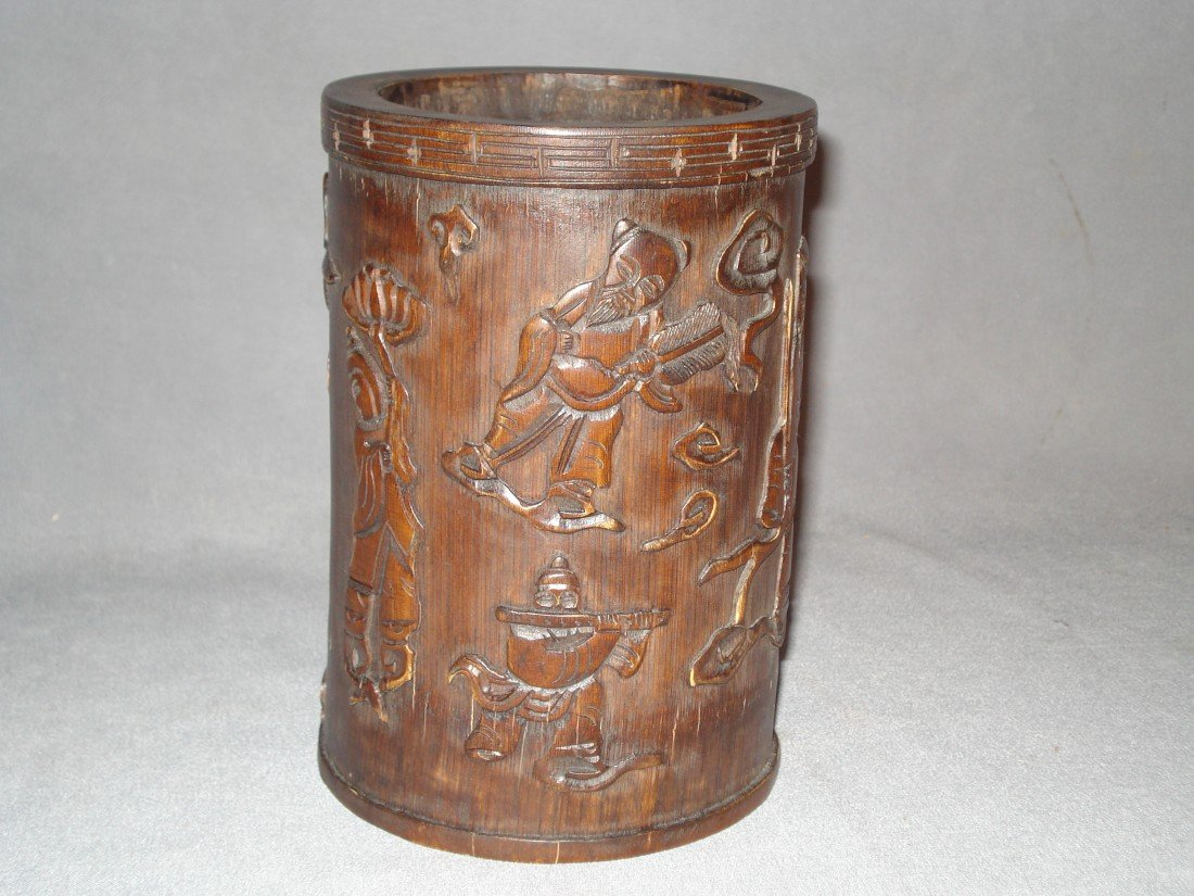 23: Bamboo Carved Brush Pot