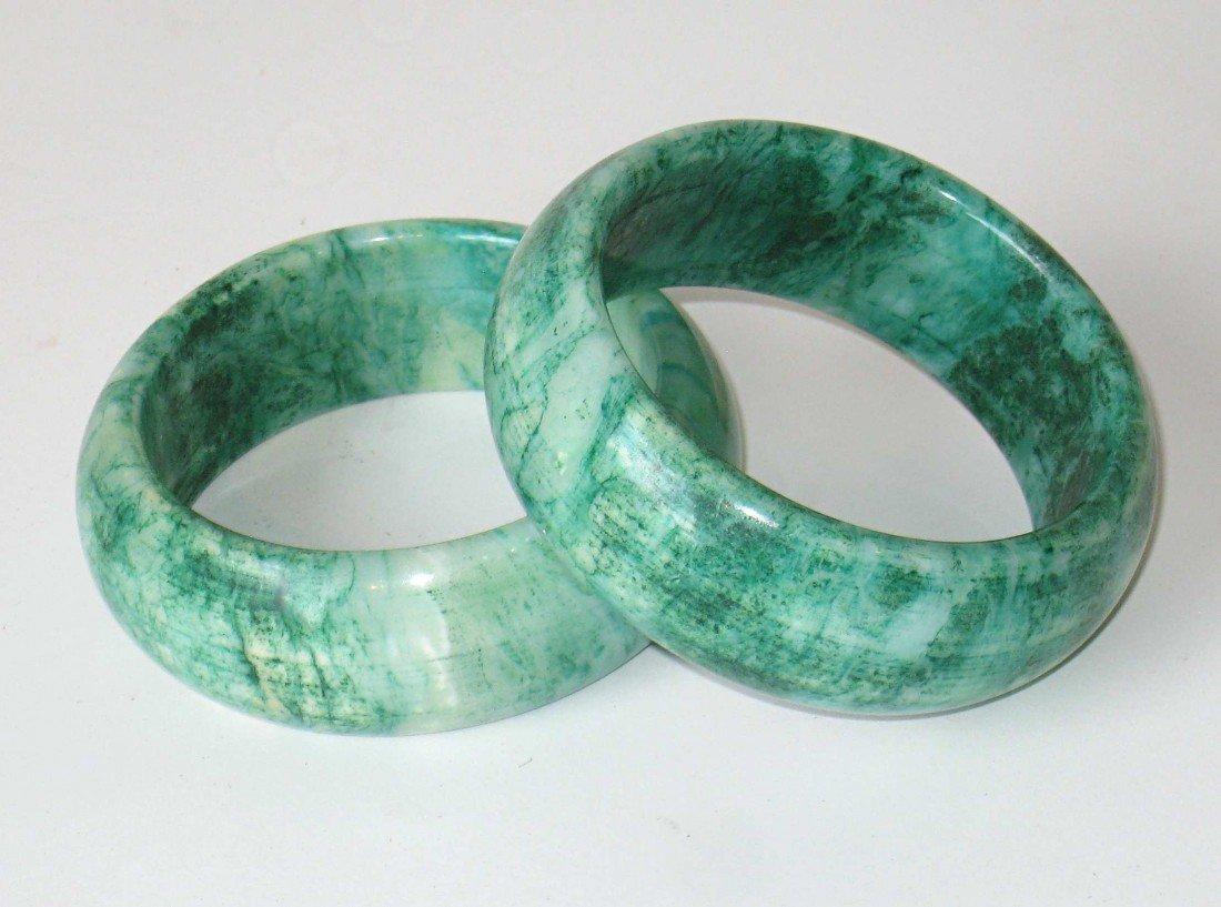 4: Pair Of Spinach Jade Bangles