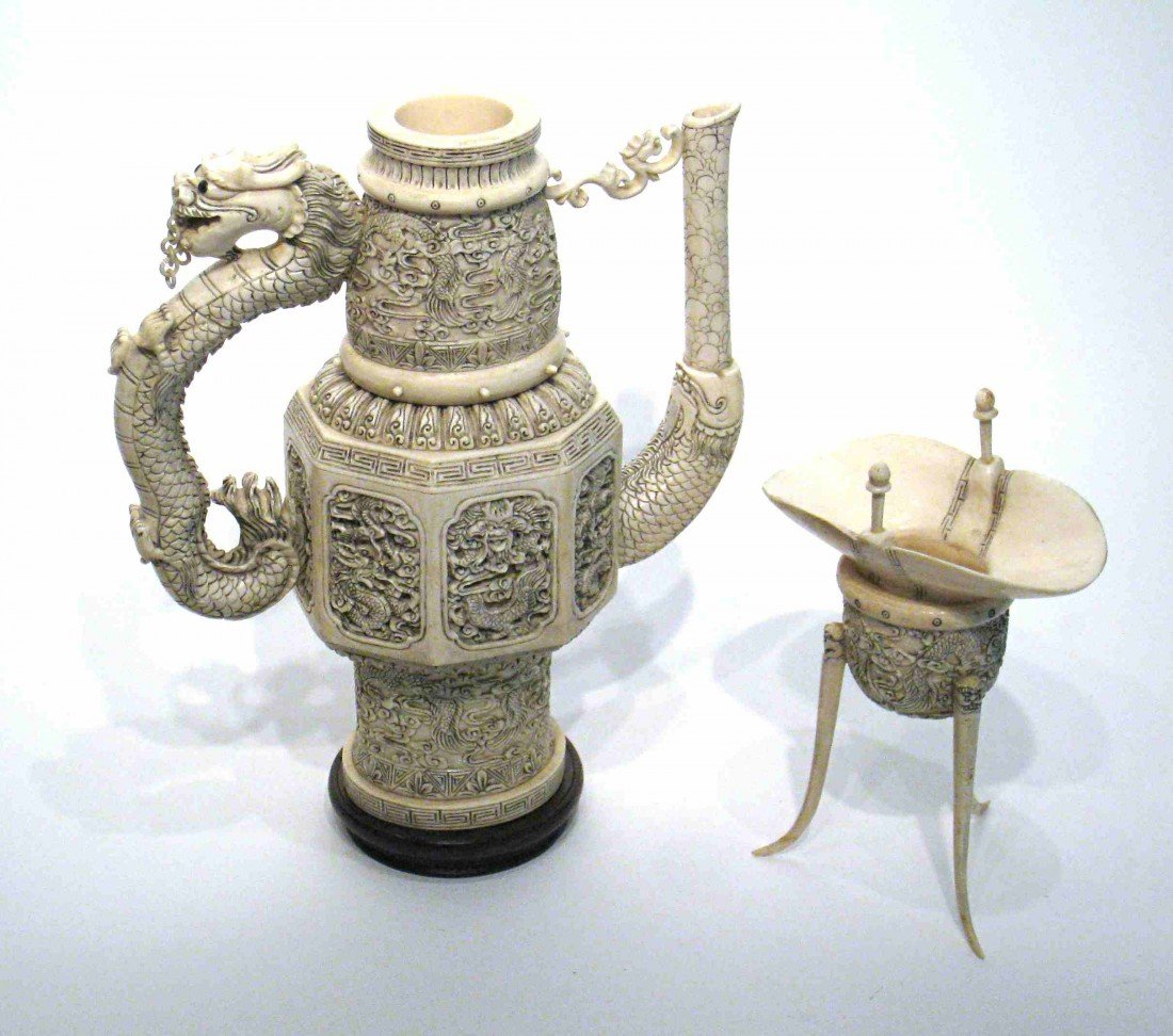 151: Fine Ivory Ewer And Cup