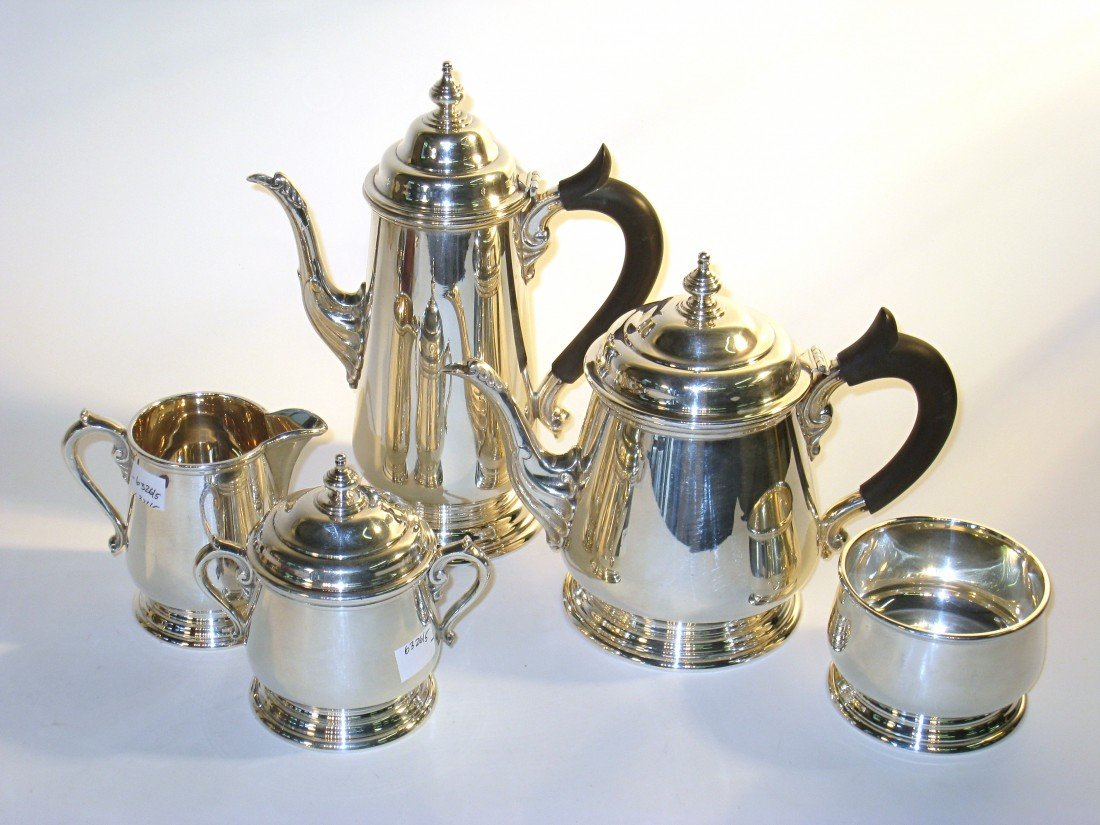 255: Five Piece Sterling Coffee/Tea Set Signed Fishers