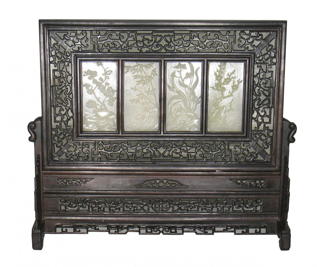 3: Fine White Jade And Rosewood Table Screen