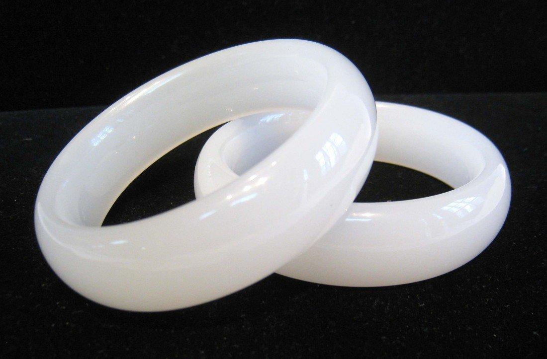 13: Pair Of White Jade Bangle