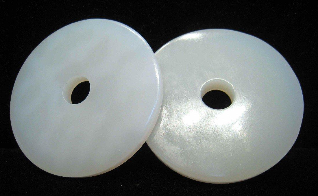 14: A Pair Of White Jade Pendants