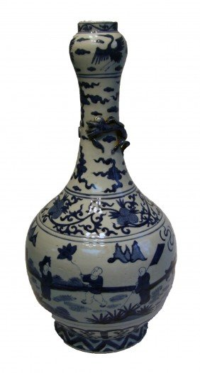 Blue And White Qing Porcelain Dynasty Vase