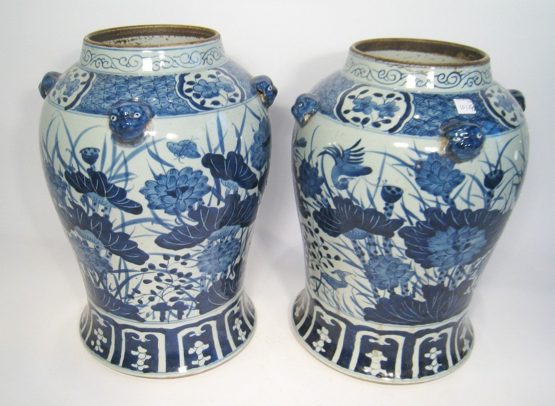 169: Pair Of Blue And White Porcelain Vases
