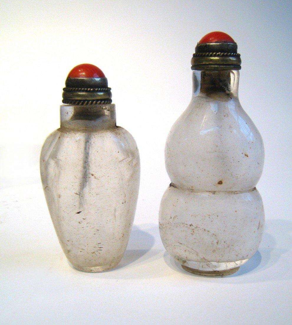 187: Two Carved Quartz 19th C. Snuff Bottles