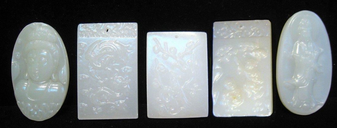 192: Five Pieces White Jade Pendants