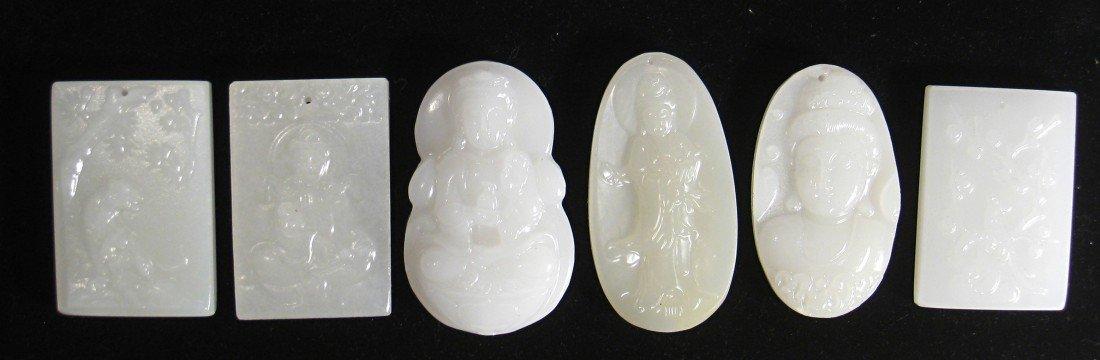 196: Six White Jade Plaques