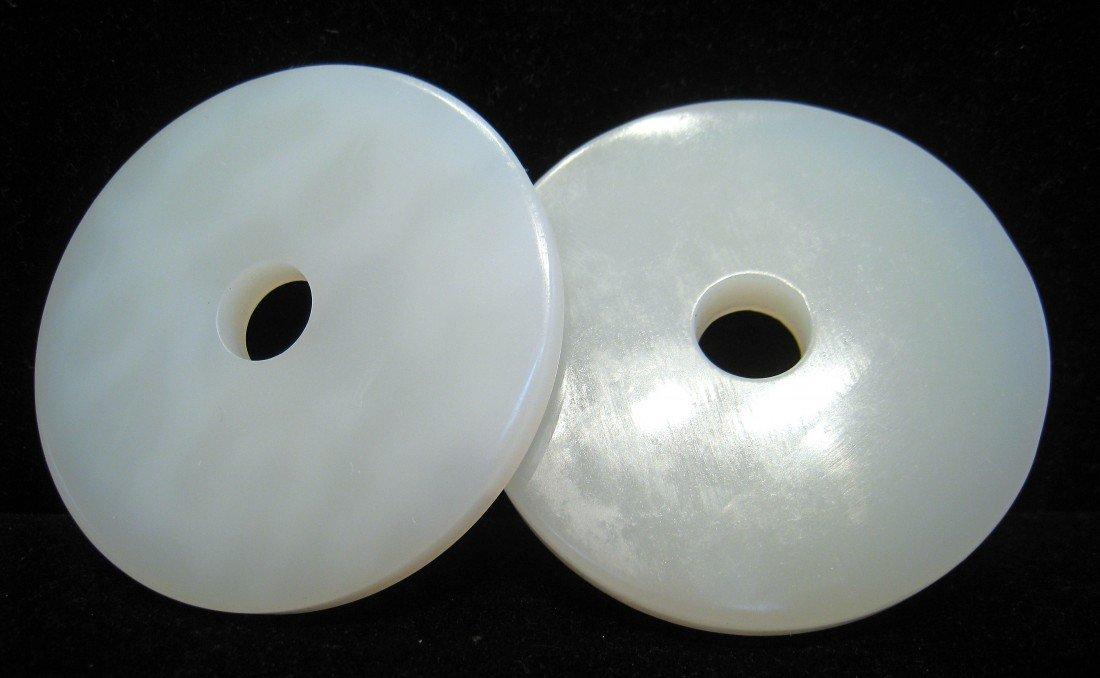 203: A Pair Of White Jade Pendants