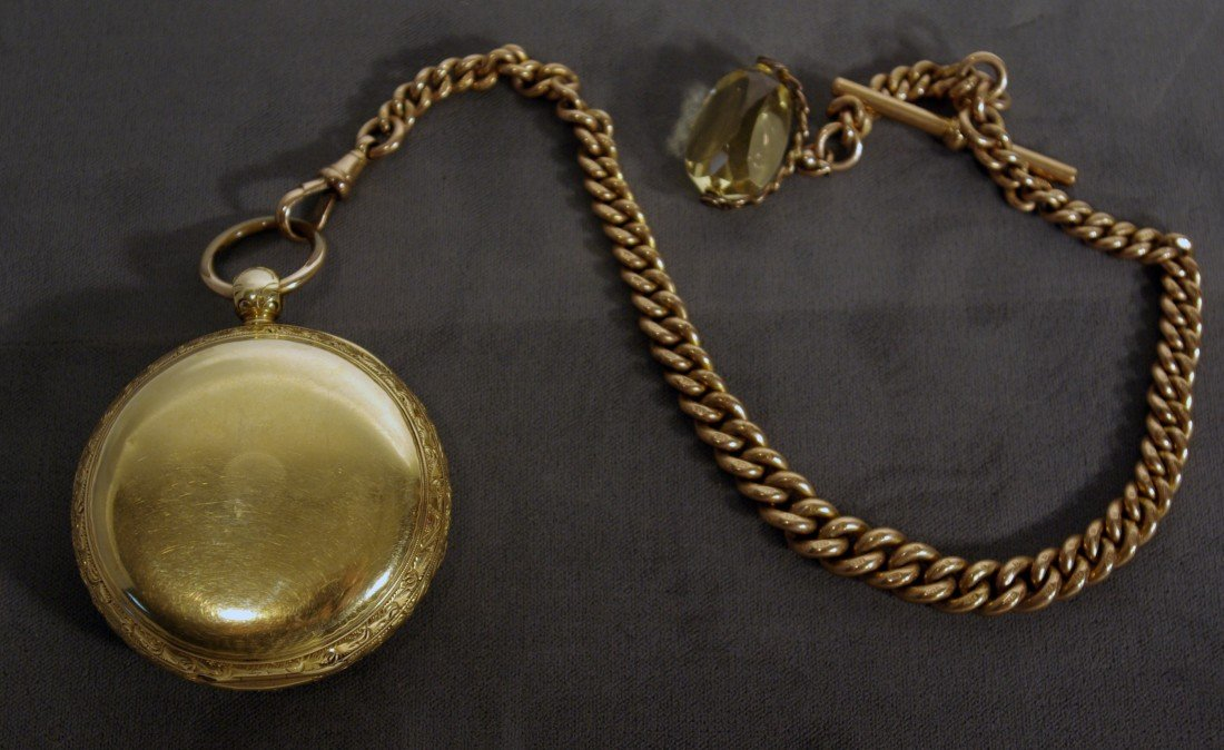 395A: Gold Watch, Chain and Fob - 2