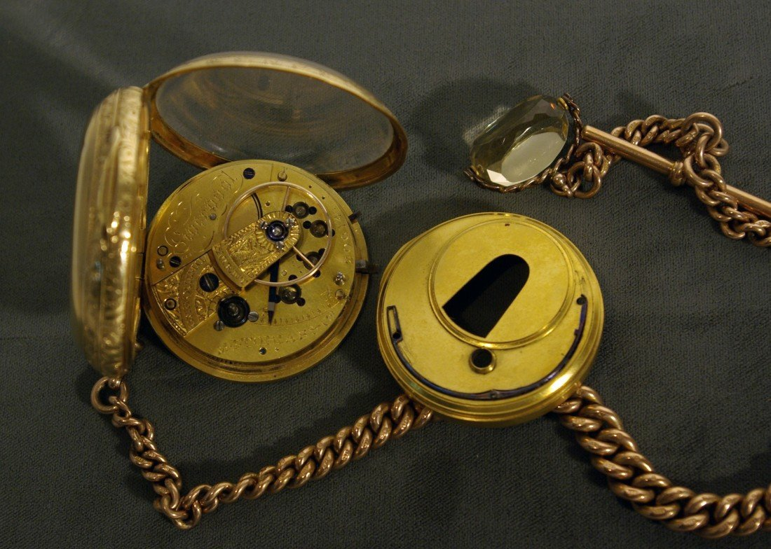 395A: Gold Watch, Chain and Fob - 3