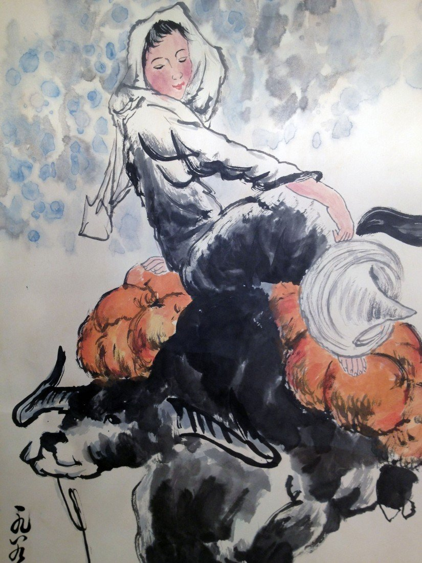 62A: Scroll: Girl Sitting on a Cow